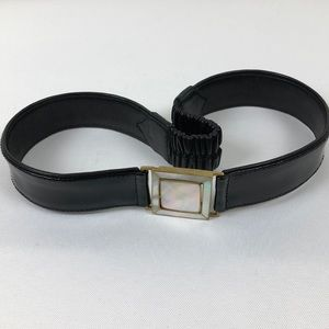 Nogoy Black and Gold Pearl Buckle Leather Belt